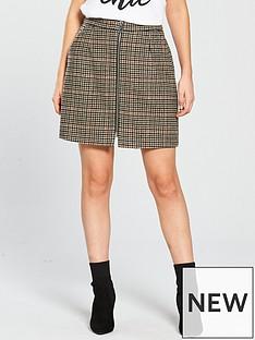 vero-moda-petite-zip-check-mini-skirt-rust