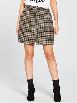 Vero Moda Petite Zip Check Mini Skirt - Rust