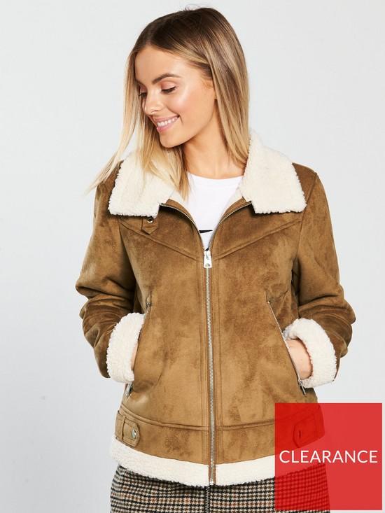 Vero Moda Petite Faux Shearling Jacket - Cream  00572266eb
