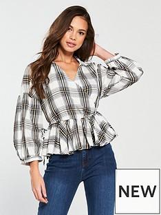 vero-moda-vero-moda-ketch-34-sleeve-checked-wrap-shirt