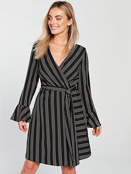 Vero Moda Petite Nicky Long Sleeve Stripe Dress - Black/White