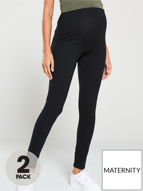287c59fba42 Mama-Licious Maternity Lea 2 Pack Organic Cotton Leggings - Black ...
