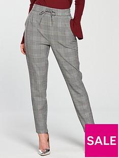 vero-moda-petite-eva-check-tapered-trouser-greynbsp
