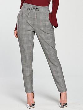 Vero Moda Petite Eva Check Tapered Trouser - Grey