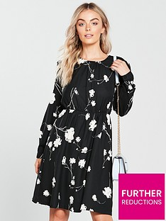 vero-moda-petite-floral-print-dress-black