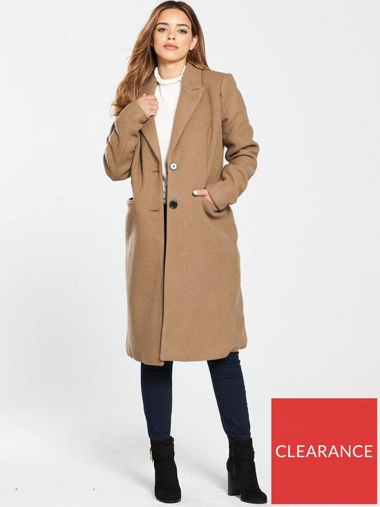 Vero Moda Petite Long Tailored Coat - Camel  e941e9bdf0