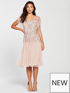 frock-and-frill-v-neck-fluted-sleeve-embellished-midi-dress-blush