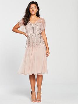 Frock And Frill V-Neck Fluted Sleeve Embellished Midi Dress - Blush
