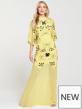 frock-and-frill-high-neck-embroidered-maxi-dress-yellow