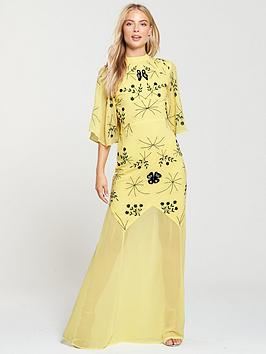 Frock And Frill High Neck Embroidered Maxi Dress - Yellow