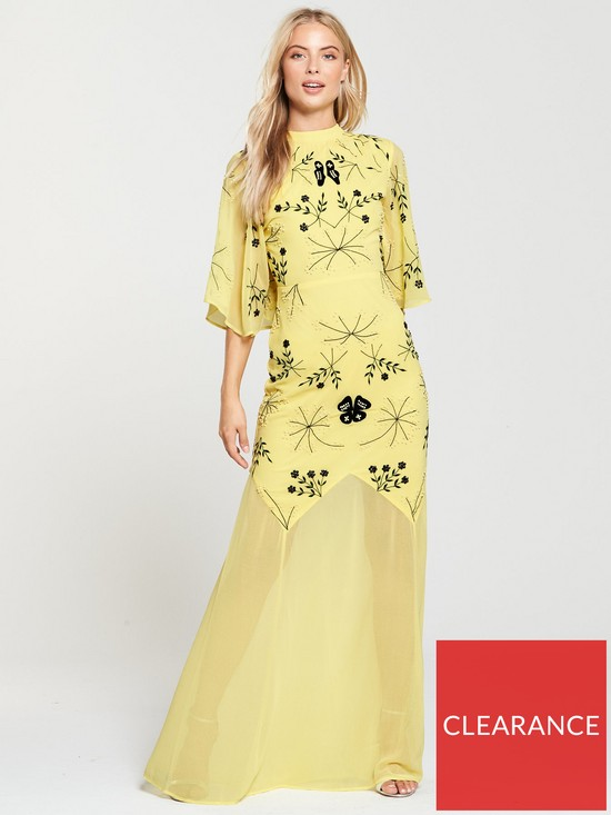6b28f162a2 Frock and Frill High Neck Embroidered Maxi Dress - Yellow