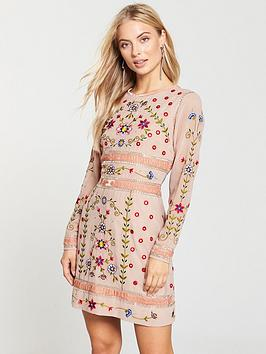 Frock And Frill Embellished Shift Dress - Pink