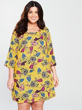 junarose-jossi-34-sleeve-printed-dress-lemonnbsp