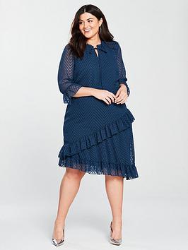 junarose-moniwa-34-sleeve-lace-ruffle-detail-dress-blue-teal