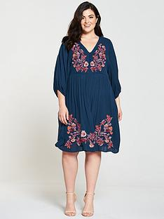 junarose-maliaznbspthree-quarter-sleeve-embroidered-smock-dress-blue