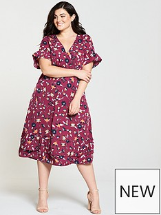 junarose-hivas-ruffle-sleeve-printed-midi-dress-rumba-red