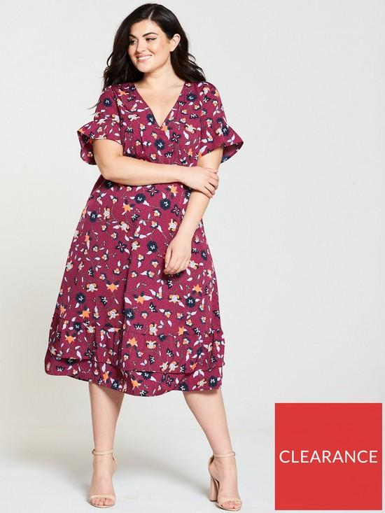 a7c4e91ba75e JUNAROSE Hivas Ruffle Sleeve Printed Midi Dress - Rumba Red | very.co.uk