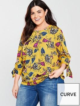 junarose-printed-keyhole-detail-high-neck-blouse-lemon