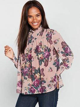 Vero Moda Gina High Neck Floral Printed Smock Top - Misty Rose