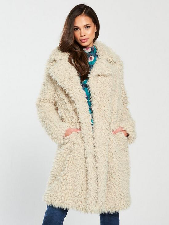 ea0104d46 Vero Moda Tamar Faux Fur Long Coat - Oatmeal | very.co.uk