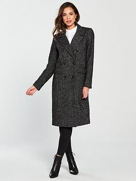 Vero Moda Highland Herringbone Double Breasted Coat - Black