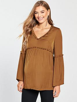 Mama-Licious Maternity Bitra Woven Top With Fluted Sleeves And Tie Detailing