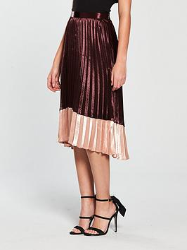 Vero Moda High Waisted Pleated Midi Skirt - Wine