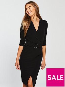 v-by-very-metal-ring-wrap-dress-black
