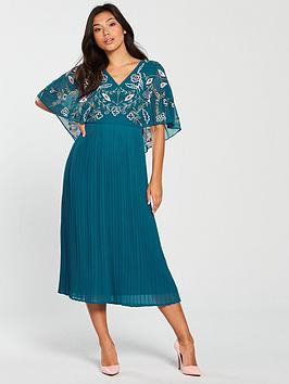 Frock And Frill Bina Embroidered Top Pleated Midi Dress