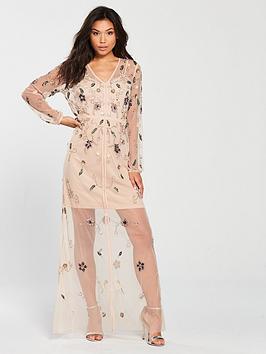 Frock And Frill Frock &Amp; Frill V Neck Sheer Detail Embellished Midi Dress