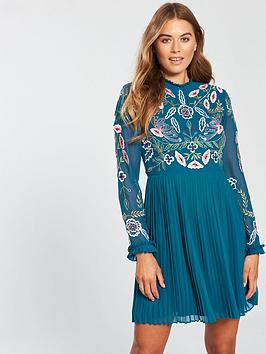 Frock And Frill Embroidered Top Pleated Skirt Skater Dress - Blue