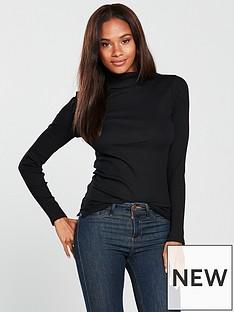 v-by-very-rib-polo-neck-top-black
