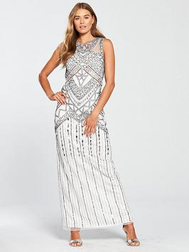 Frock And Frill Sleeveless Embellished Maxi Dress - Pale Grey