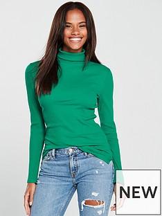 v-by-very-rib-polo-neck-top-green
