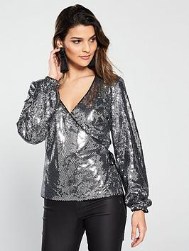 v-by-very-long-sleeve-sequin-wrap-top-silvernbsp