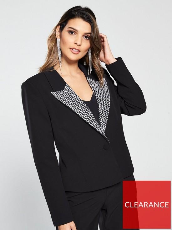 c1c18b273180be V by Very Embellished Collar Suit Jacket - Black