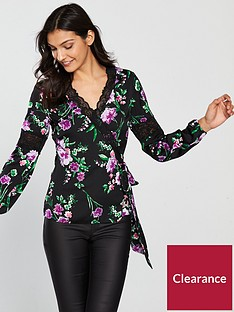 v-by-very-lace-trim-wrap-top-black-floral