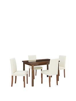 morris-120-cm-solid-wood-and-glass-dining-table-4-chairs-creamwalnut