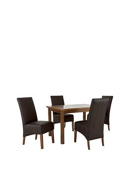 mccauley-120-150-cm-solid-wood-extending-table-4-chairs-brownwalnut