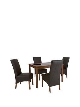 mccauley-120-cm-solid-wood-and-glass-dining-table-4-chairs-brownwalnut