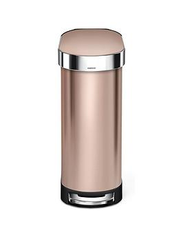 simplehuman-slim-45-litre-stainless-steel-pedal-bin-ndash-rose-gold