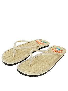 Accessorize Lotus Embroidered Seagrass Flip Flop - Gold