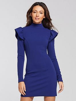 michelle-keegan-high-neck-tunic-dress-blue