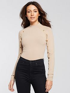 michelle-keegan-button-detail-ribbed-top-camel