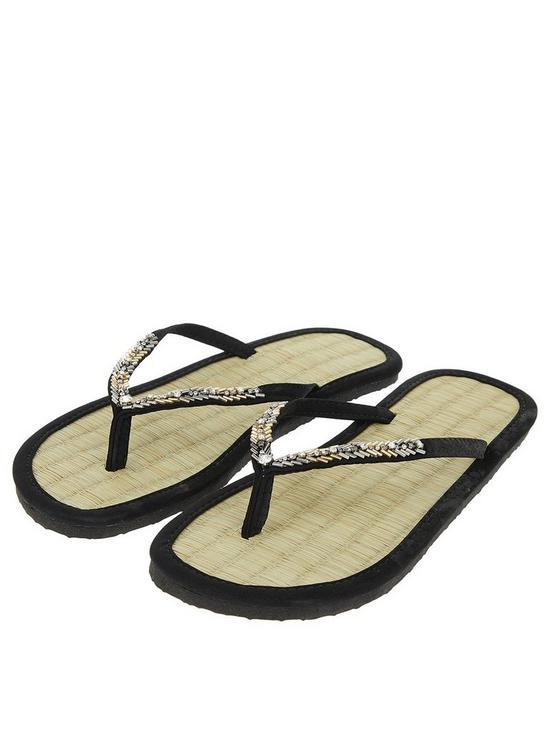 ad3c725bb92a7c Accessorize Chevron Beaded Seagrass Flip Flops - Black