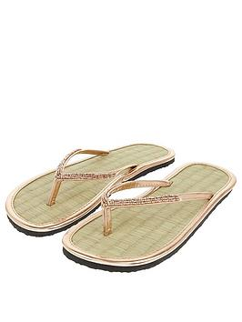Accessorize Beaded Seagrass Flip Flop - Rose Gold