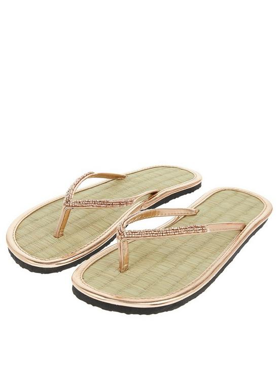 369a24126 Accessorize Beaded Seagrass Flip Flop - Rose Gold