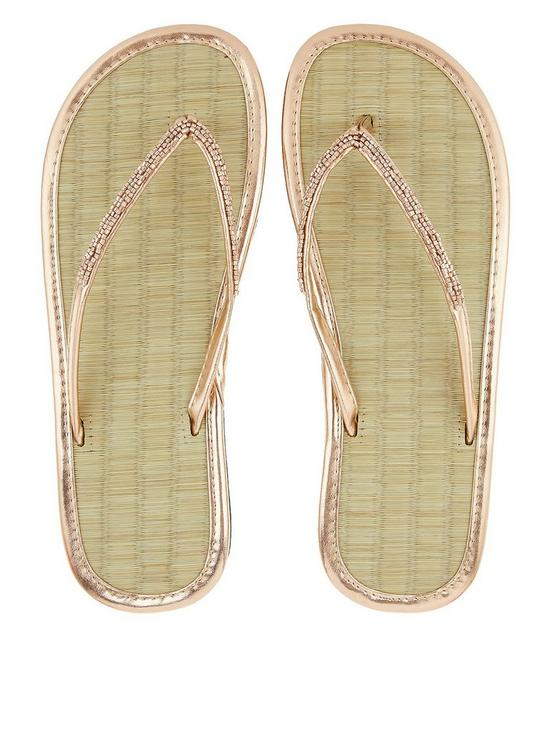 6c5cd9d84065fc Accessorize Beaded Seagrass Flip Flop - Rose Gold. View larger great fit ...