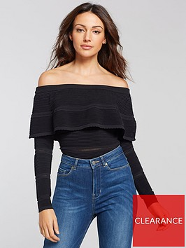 michelle-keegan-ribbed-bardot-knitted-jumper-black