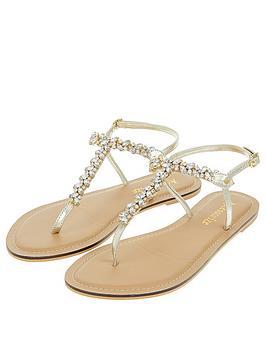 Accessorize Belle Crystal Sandal - Gold